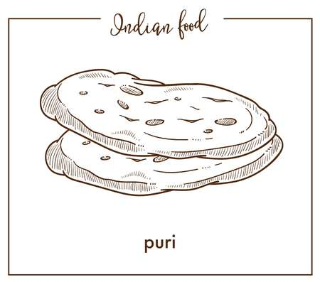 Delicious soft hot puri loaves from traditional national Indian food. Tasty bread of round shape. Oriental bakery product isolated cartoon flat monochrome vector illustration on white background.