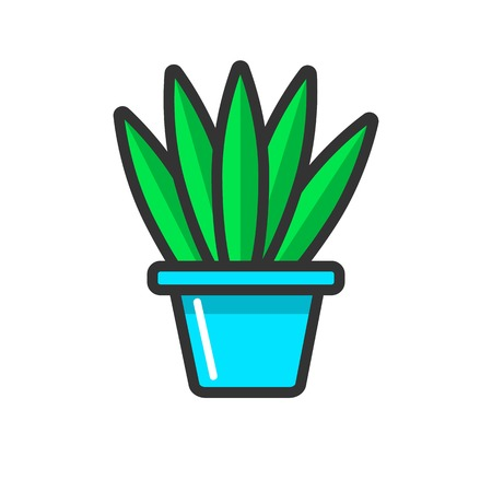 Green indoor plant without bloom in clay pot isolated on white background. Natural floral decoration to make home cozier vector illustration. Cultivation of indoor plants as leisure activity. Ilustrace