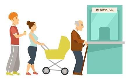 Information window line or queue waiting for turn Ilustración de vector