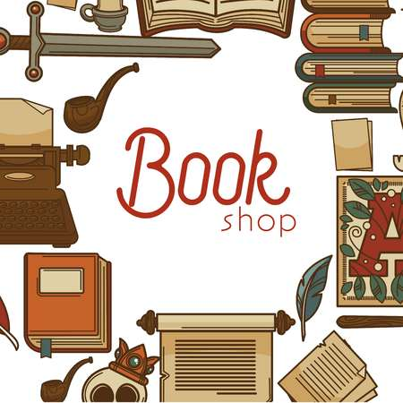 Ancient library or book shop or store manuscripts and letters vector sword and volumes smoking pipe and typing machine alphabet and feather skull in crown and torn pages knowledge and education.