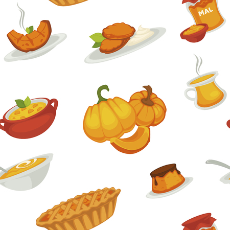 Delicious pumpkin dishes for main course and dessert seamless pattern. Sweet jam, tasty pie, small cake, nutritious soup, fresh cutlets and boiled vegetable isolated cartoon vector illustration on white background.