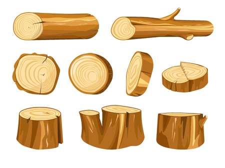 Waldstumpf- und Baumstammholz und natürliche Holzmaterialien Vektorbau und Heizung Eichen- oder Tannenbaumteile Balken oder Holzbaulk Rundschnittkonstruktion und Möbel, die isolierte Objekte herstellen.