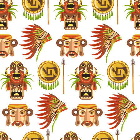 Maya traditional attributes and ancient priceless relics seamless pattern. Old pyramids, sharp spear, solid shield, authentic headdress, human skull, wooden totem and archaeological finds vector illustrations.