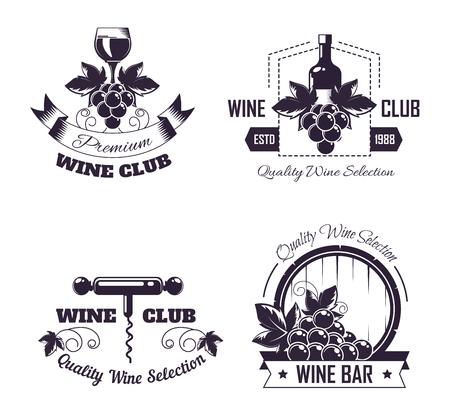 Wine club house logo templates or winemaking bar shop label set. Logo