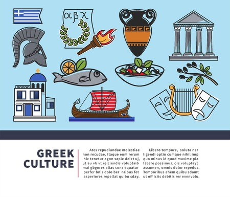Architecture and food Greek culture symbols vector historic relics national flag and alphabet torch and laurel wreath amphora and pillars olives and salad fish and boat theatrical masks and church.