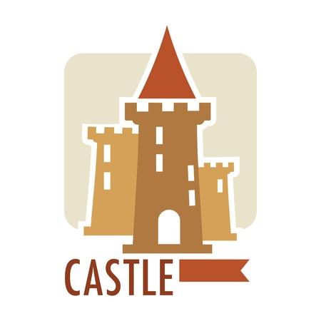 Medieval castle with flag ribbon on top, architecture of old times vector.