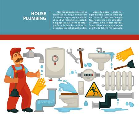 House plumbing plumber services bathroom piping vector illustration