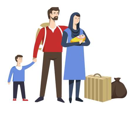 Family refugees parents baby and child baggage vector looking for shelter or dwelling father with backpack mother with newborn and boy suitcase and sack immigrants homeless isolated characters. Иллюстрация