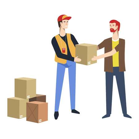 Humanitarian help refugees assistance post parcels delivery vector food and clothes cardboard boxes and courier or mailman mail or postage immigrants aid rescuing hunger and poverty prevention. Illustration