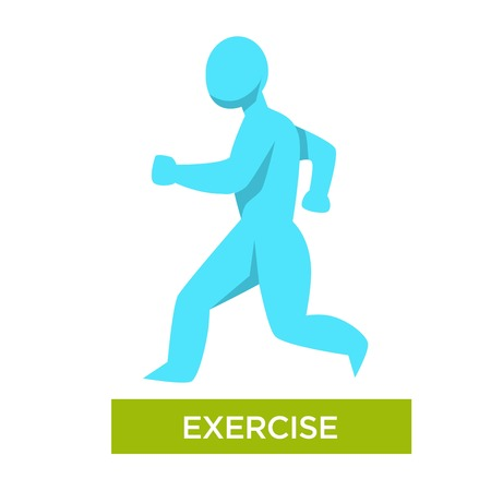 Exercise morning jogging isolated human figure vector illustration Vecteurs