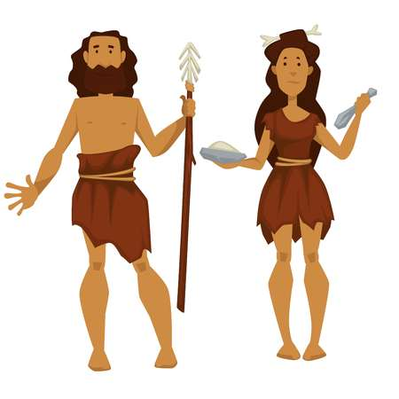 Primitive man and woman with spare and tools stone age vector isolated male and female characters in skin clothes with hunter and cooking equipment of wood and rock ancient history cave people.