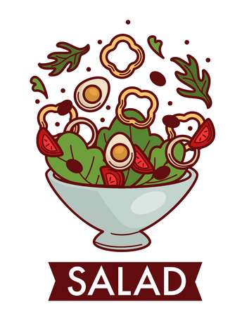 Cooking food salad dish ingredients vegetables and eggs vector bell pepper or paprika circles arugula and tomato slices lettuce leaves and olives onion rings in bowl culinary recipe vegetarian meal.