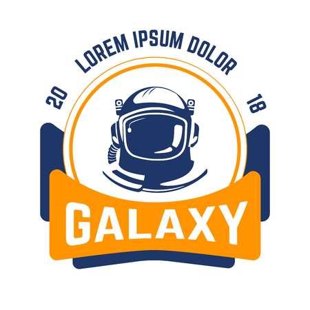 Galaxy isolated emblem space and aeronautics industry astronaut helmet Çizim