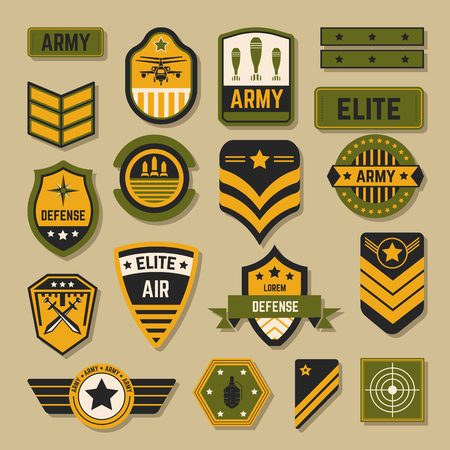 Army signs and badges or stripes elite military service Illustration