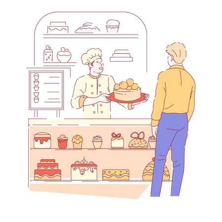 Baker and customer bakery shop cakes and cupcakes showcase vector craft confectionery products menu signboard desserts crafted pastry food meal or dish cream or icing and chocolate male characters.