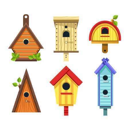 Wooden birdhouses vector isolated icons nesting boxes to hang on tree small buildings of planks with hole and green leaves constructions to feed birds cartoon rectangular and triangular shapes. 일러스트
