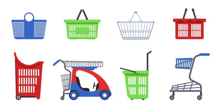 Shopping carts and baskets supermarket accessories isolated objects Stock Illustratie
