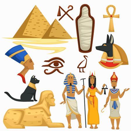 Symboles de l'Égypte en voyage Pyramides et Sphinx Culture égyptienne vecteur pharaon et symboles de l'alphabet Cléopâtre et momie dieu Anubis et croix copte de chat noir et tombeau de l'homme et de la femme de la royauté des yeux d'Horus.