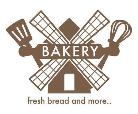 Bakery with fresh bread isolated icon windmill spatula and whisk Illustration