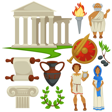 Ancient Rome Greece symbols traveling history and culture vector pillars and torch old philosopher gladiators shield and sword olives and amphora man with harp and woman ingot and laurel wreath.