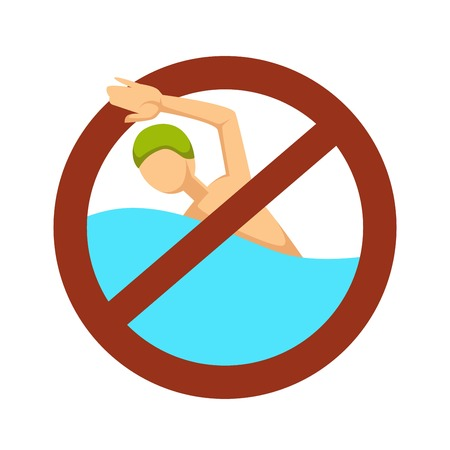 Restriction or caution no swimming sign swimmer in water isolated vector icon drowning risk stop symbol pool depth rubber hat sport or water activity danger precaution forbiddance life threat.