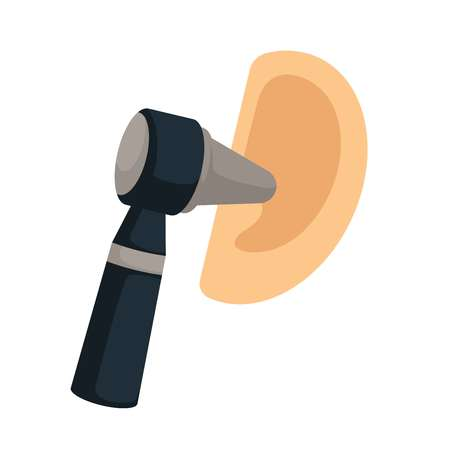 Otorhinolaryngology ear check tool and otoscope earache treatment vector perception organ otitis disease and illness medical examination healthcare and medicine isolated body part and device Illustration