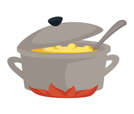 Soup in saucepan or stove broth or bouillon cooking dish Ilustração