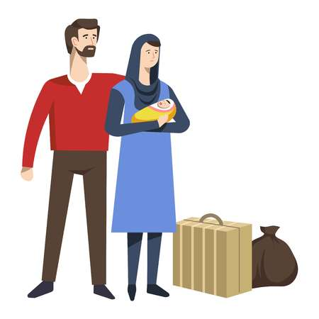 Arab refugees family with newborn baby and baggage suitcase and bag isolated characters man and woman with luggage and sack immigration and resettlement political shelter and escape from war. Иллюстрация