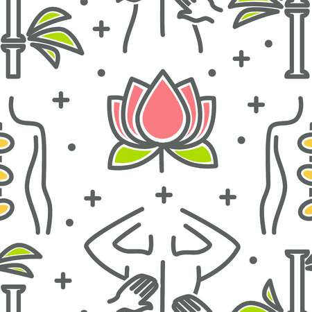 Spa seamless pattern lotus flower and back massage vector beauty salon service hot stones and bamboo plant relax and rest skincare and healthcare elements in endless texture oriental medicine.