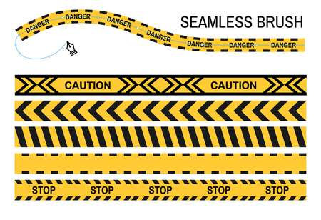 Caution police tapes seamless brush stop yellow ribbon