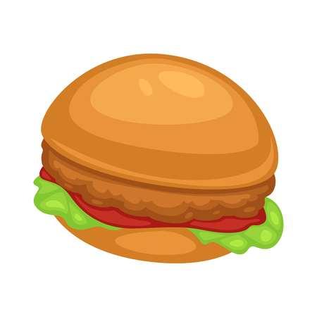 Fast food burger z kurczaka z sosem ketchupowym i sałatą lub liśćmi sałaty z warzywami i kotletem drobiowym w cieście wewnątrz miękkiej bułki gotowanie i danie kulinarne lub na białym tle posiłek uliczny.
