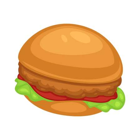Fast food chicken burger with ketchup sauce and lettuce or salad leaf vector vegetables and poultry meat cutlet in batter inside soft buns cooking and culinary dish or street meal isolated snack.