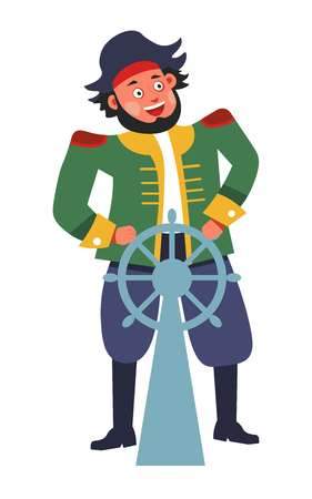 Pirate with steering wheel or rudder isolated male character Vector Illustration