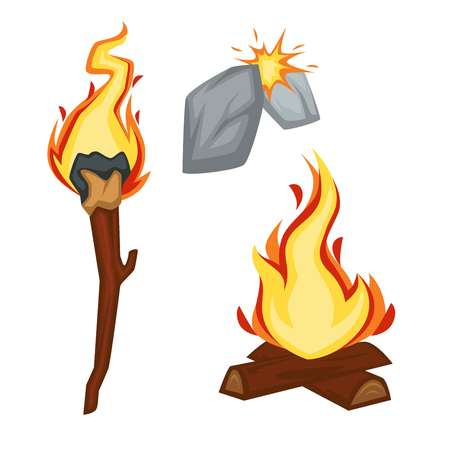 Torch and campfire fire stone age sparkle flame vector primitive people invention bonfire and ancient lantern wood stick and rocks friction force firewood history and evolution isolated objects.