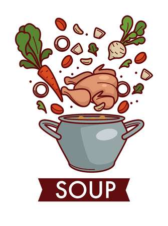 Chicken broth or bouillon soup in saucepan cooking and culinary recipe vector vegetables and poultry meat carrot and celery garlic and onion rings pepper and liquid cuisine main course isolated dish. Vetores