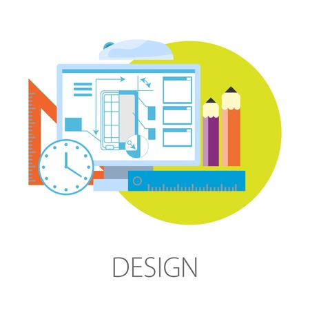Design process smartphone development in computer program vector isolated icon gadget production and deadline monitor and clock ruler and pencils modern technology device corpus scheme stationery.