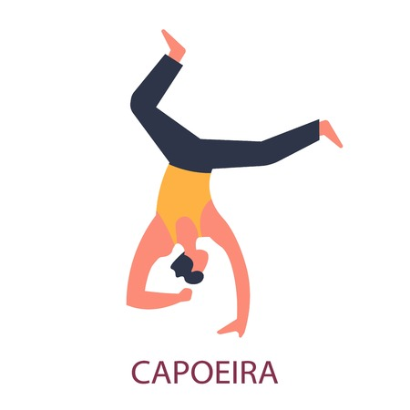 Brazil fighting art capoeira dance and acrobatics vector fighter standing on hand and elbow combat style exercising sport or physical activity fitness and body control isolated male character.