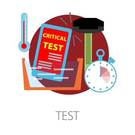 Smartphone test development and production isolated icon vector testing stage temperature and time waterproof and durability device or gadget check examination or quality control timer and thermometer. Stock Illustratie
