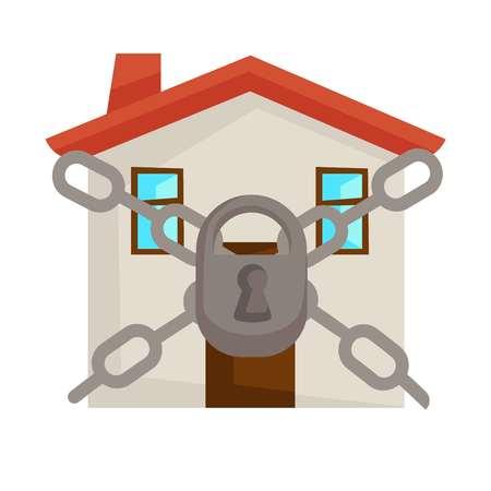 Casa cerrada con cadenas y casa segura con cerradura