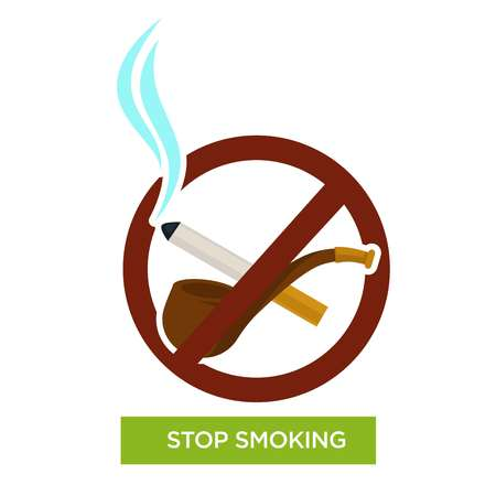 Tobacco products stop smoking sign wooden pipe and cigarette vector harmful habit quitting healthcare and medicine restriction lung cancer risk nicotine smoke addiction inhalation prohibition symbol. Ilustracja