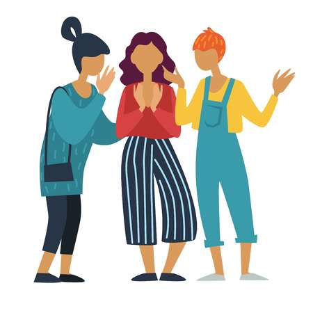 Freundinnen reden oder chatten und tratschen Mädchengruppe Teenager vektor Teenager Freunde Schulmädchen oder Studenten moderne Frauen stilvolle Modekleidung geheime Konversation Kommunikation und Beziehung