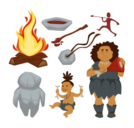 Stone age primitive people and devices woman and baby