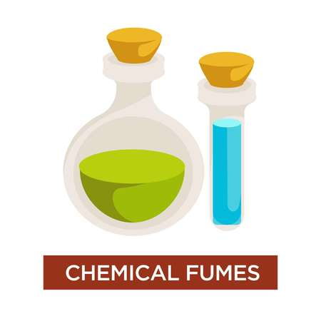 Allergy and antritis causative chemical fumes flask with corks vector smelling stimulus harmful liquids chemistry reaction sneeze rash allergen asthma pharmacy health and healthcare medicine