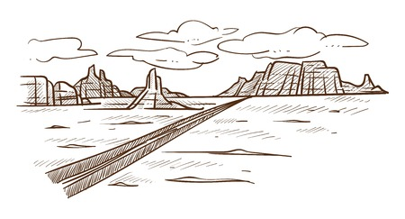 Desert road or highway and hills Texas landscape sketch vector Mexican prairie freeway mountains and sand dry ground heat clouds in sky empty valley with route nature drawing scenery or view journey.