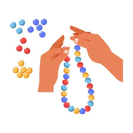 Handmade craft beads creation bijouterie workshop vector isolated hands art and creativity hobby or leisure pastime necklace decoration fake crafted jewelry workshop thread ball color bijou accessory.