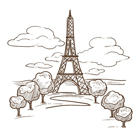 Paris Eiffel tower landmark sketch travel to France vector construction French symbol attraction famous architecture monument journey or trip drawn landscape trees and sky with clouds romantic place.