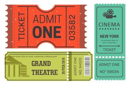 Billets de cinéma et de théâtre ou laissez-passer pour l'industrie du divertissement des cartes papier vectorielles pour regarder des pièces de théâtre ou des performances cinématographiques et une caméra cinématographique avec des bobines de film construction ancienne avec des piliers.