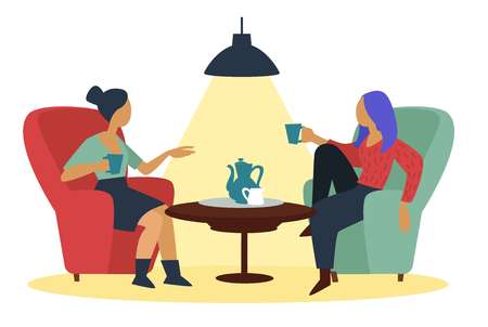 Friends girls talking at cafe with coffee cups in armchairs near table vector girlfriends gossiping and drinking tea teapot and cup on tray lamp light meeting friendship modern women conversation.