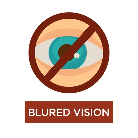 Poor eyesight blurred vision human eye disease symptom vector eyeball crossed sign cataract and diabetes symptom medicine and healthcare ophthalmology optical dysfunction of eyeball glaucoma risk.