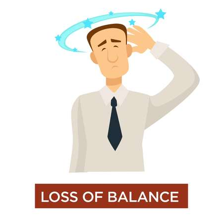 Stroke symptom loss of balance dizziness disease prevention vector isolated male character headache and weakness faint stars above head heatstroke awareness vertigo and dehydration medical diagnosis. Çizim
